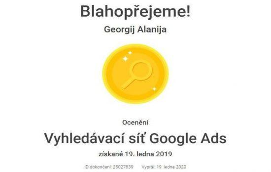 Certifikace Vyhledávací síť Google Ads
